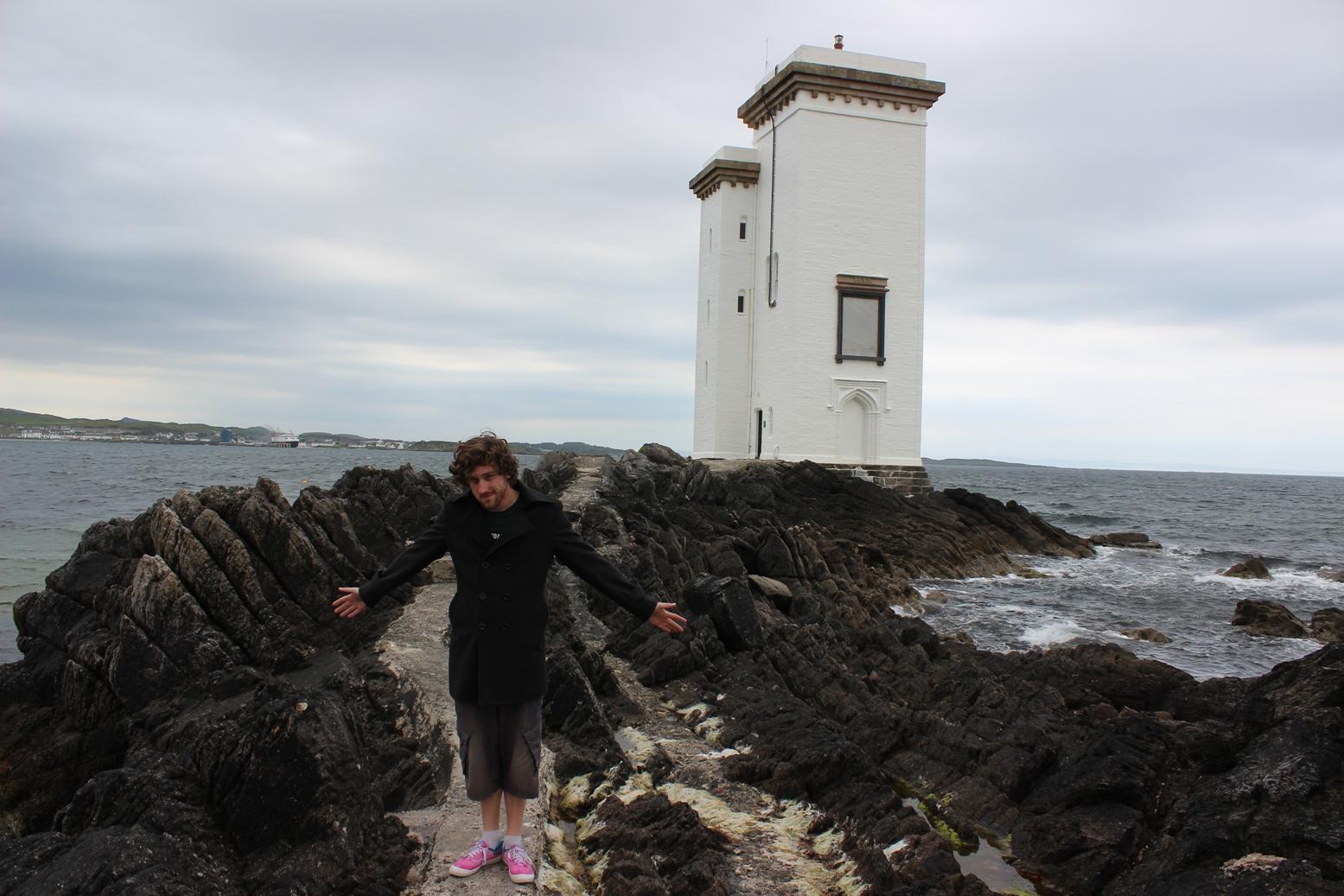 Nick at Port Ellen lighthouse whisky waffle
